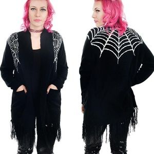 nwt too fast spider web cardigan